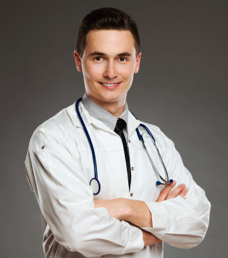 male medical professional smiling