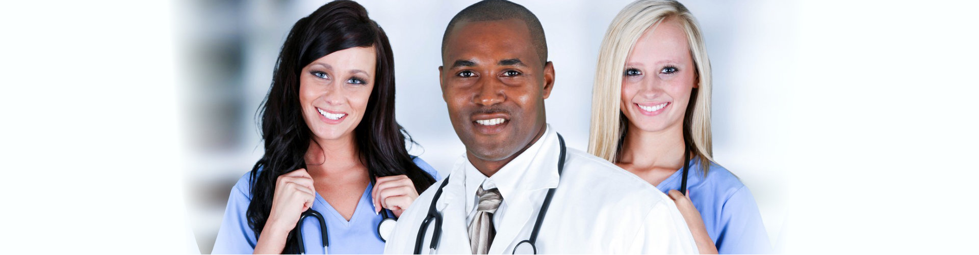 medical professionals with stethoscope smiling